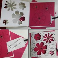 Création carte anniversaire à tirette -version blanc et fuchsia