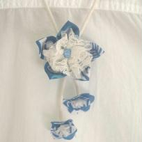 Création fleur bleue - exotique en tissus et dentelle