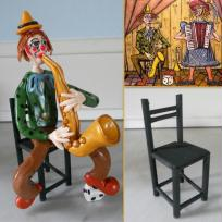 Création clown en Fimo - saxophoniste façon Bernard Buffet