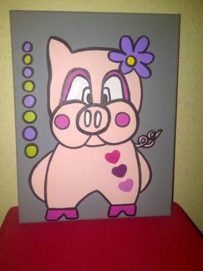 Cr ation d co de chambre enfant petit cochon rose en acrylique cr ation c - Creation deco chambre ...