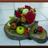 Création art floral : support en bois d'automne