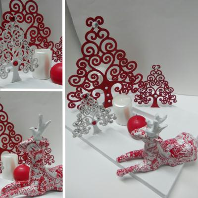 No l en rouge et blanc d coration de table cr ation for Deco table de noel rouge et blanc