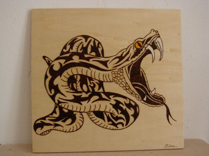 Serpent tribal pyrogravure cr ation pyrogravure de mime1953 n 47 729 vue 4 507 fois - Pyrogravure sur bois professionnel ...