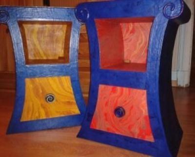 Fabrication table de chevet en carton cr ation meuble en - Fabrication de meuble en carton ...