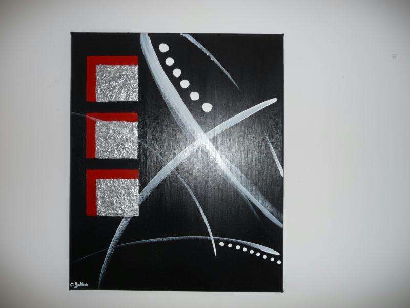 Cr ation peinture acrylique toile rouge gris m tal blanc et noir cr ation peinture multi for Peinture gris rouge