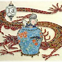 Création mosaïque : reproduction Tintin et le lotus bleu