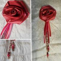 Création d'une rose en ruban et pampille perlée montées en broche