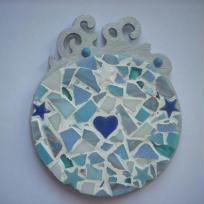 Création dessous de verre en mosaïque coloris bleu