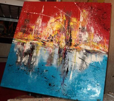 Création en peinture acrylique : le reflet d un monde imaginaire