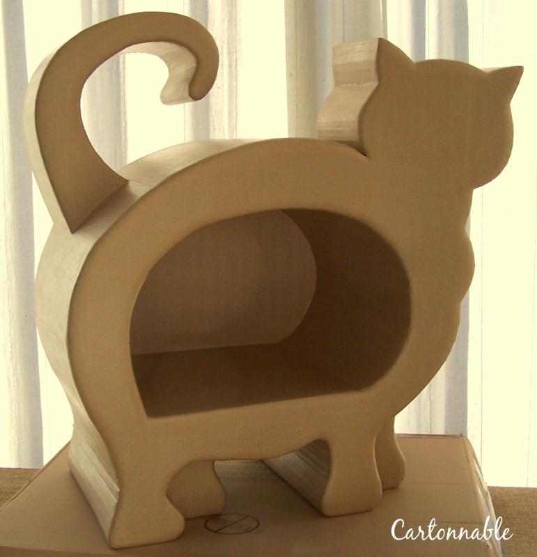Cr ation niche en carton pour chat cr ation meuble en - Patron meuble en carton gratuit ...