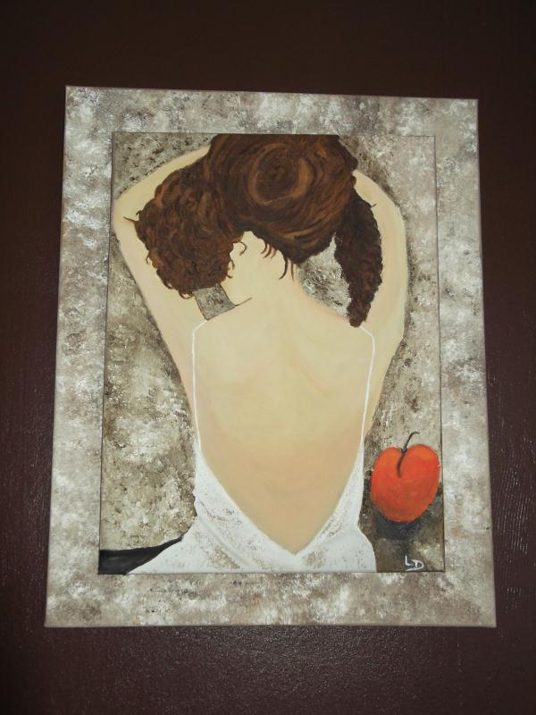 Création d'un tableau : dame au dos nu chignon relevé - Création Beaux Arts - Peinture de ...