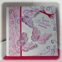 Création Carte d'anniversaire - papillons en 3D