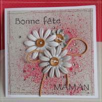 Création carte fête des mères avec bois, cuir et strass