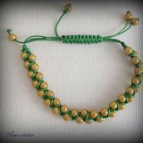 Création bracelet shamballa tourné vert et or