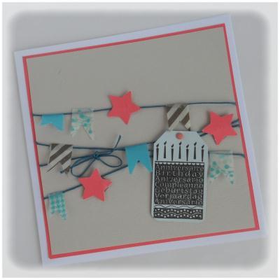 cr ation carte d 39 anniversaire banderole de fanions en masking tape cr ation carterie faire. Black Bedroom Furniture Sets. Home Design Ideas