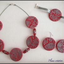 Création parure fimo métallisée rouge feu