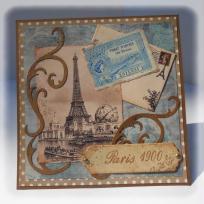 Carte scrappée vintage : Paris 1900