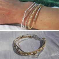 Création bracelet multirangs coton coton ciré et perle argent