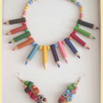 Création collier et BO en crayon pour une rentrée fun et colorée
