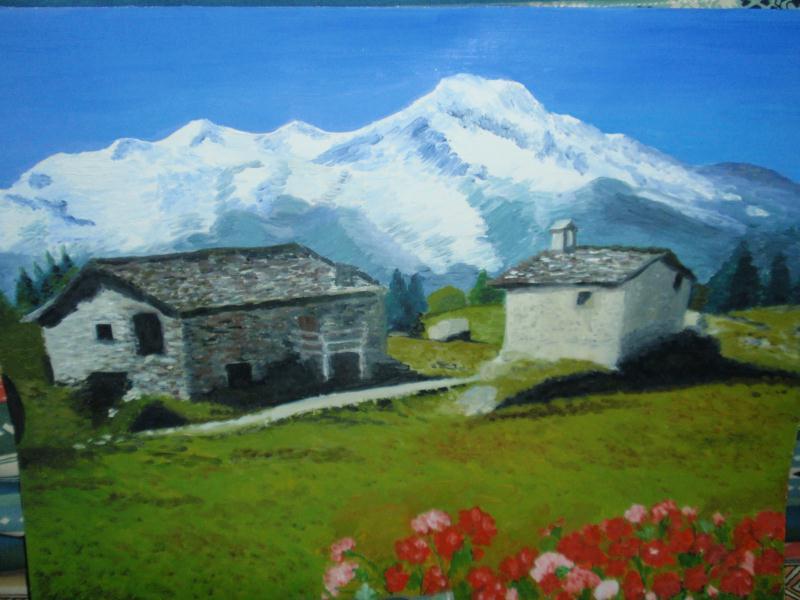 Peinture Chalet Bois - Création peintureà l'huile Paysage de montagne et ses chalets d'alpage Création Peinture