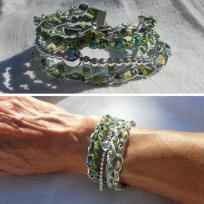 Création bracelet manchette liberty Mitsi Vert