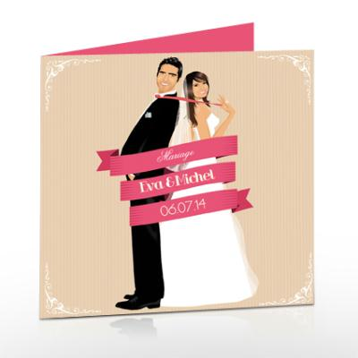 cr ation faire part de mariage romantique original chic rose retro cr ation carterie faire. Black Bedroom Furniture Sets. Home Design Ideas