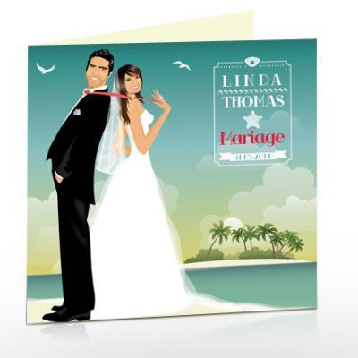 cr ation faire part de mariage romantique original plage. Black Bedroom Furniture Sets. Home Design Ideas