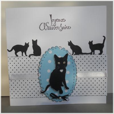 cr ation carte d 39 anniversaire chat noir cr ation carterie faire part de paucile n 50 650. Black Bedroom Furniture Sets. Home Design Ideas