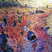 Création mosaïque : La vigne rouge - Influence V.Van Gogh.