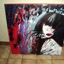 Création toile peinture acrylique : La femme aux cheveux noirs