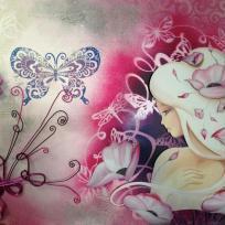 Création 3D : Lilou rose poudrée sur châssis