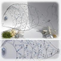Création poisson en fil de fer, fil de laiton et perles