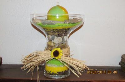d coration soleil fait avec sable color et galet cr ation art floral de christine4191 n. Black Bedroom Furniture Sets. Home Design Ideas