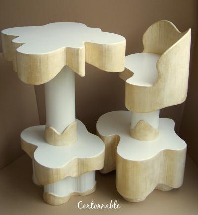 cr ation d 39 une table et chaise haute en carton cr ation meuble en carton de cartonnable n. Black Bedroom Furniture Sets. Home Design Ideas