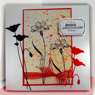 cr ation carte d 39 anniversaire fleurs des champs cr ation carterie faire part de paucile n. Black Bedroom Furniture Sets. Home Design Ideas