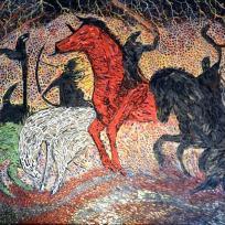 Création mosaïque : Les quatre cavaliers de L'Apocalypse.
