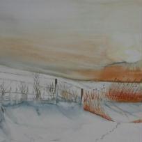 Création aquarelle : Promenade à l'aube en hiver