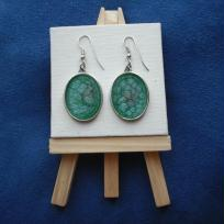 Création boucles d'oreilles turquoises prisme