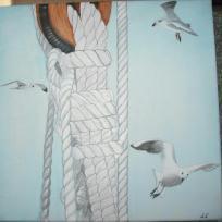 Création Retour de pêche - aquarelle 40x40
