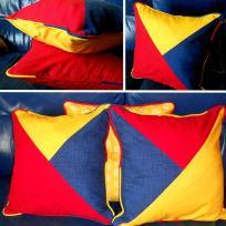 Création de coussins géométriques avec passepoil multicolore