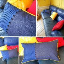 Création d'un coussin plissé, passepoil contrasté et boutons recouverts
