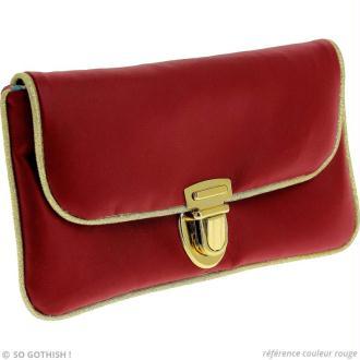 Couture pochette en simili cuir rouge et doré