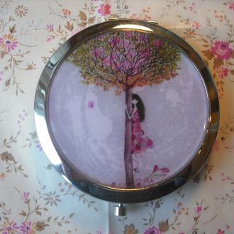 Création Miroir de poche décoré recouvert d'epoxy