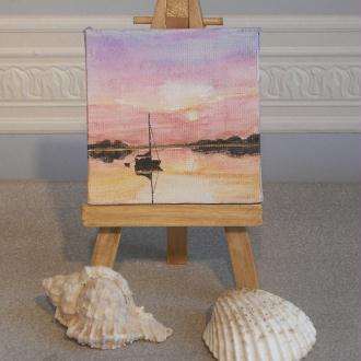 Création peinture miniature sur toile : La nuit tombe au mouillage
