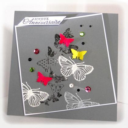 cr ation carte d 39 anniversaire envol e de papillons color s cr ation carterie faire part de. Black Bedroom Furniture Sets. Home Design Ideas