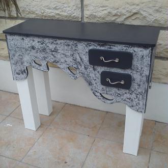 Cr ation console d 39 entr e avec un tiroirs tout en carton for Creation meuble carton