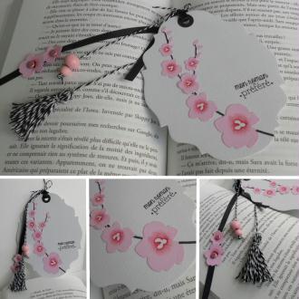 """Marque-page scrappé """"fleurs de cerisier"""""""
