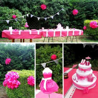 Création décoration de fête très girly (fuschia et blanc)