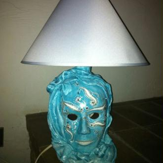 Création Lampe Masque Venise bleu turquoise
