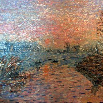 Création mosaïque - Coucher de soleil à Lavacourt - Influence Claude Monet